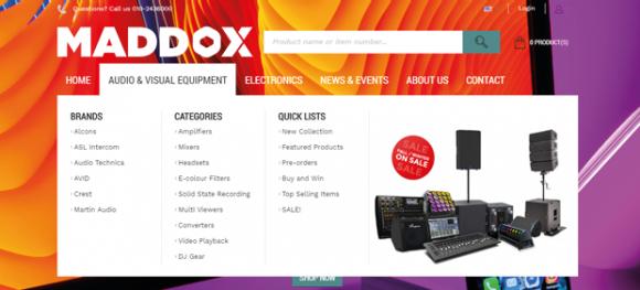 Maddox drop down menu on homepage