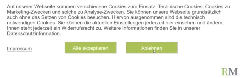 Datenschutz und E-Commerce Beispiel Cookie Banner