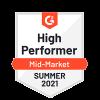 G2 High Performer Mid-Market Summer 2021