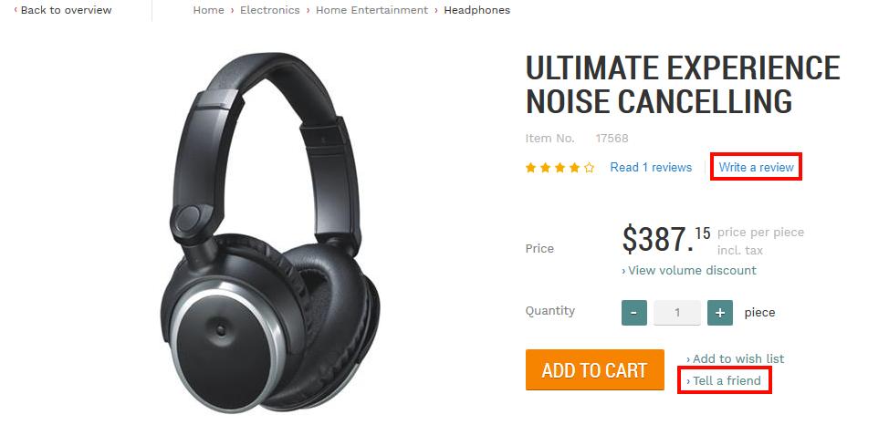 Headphones in web store