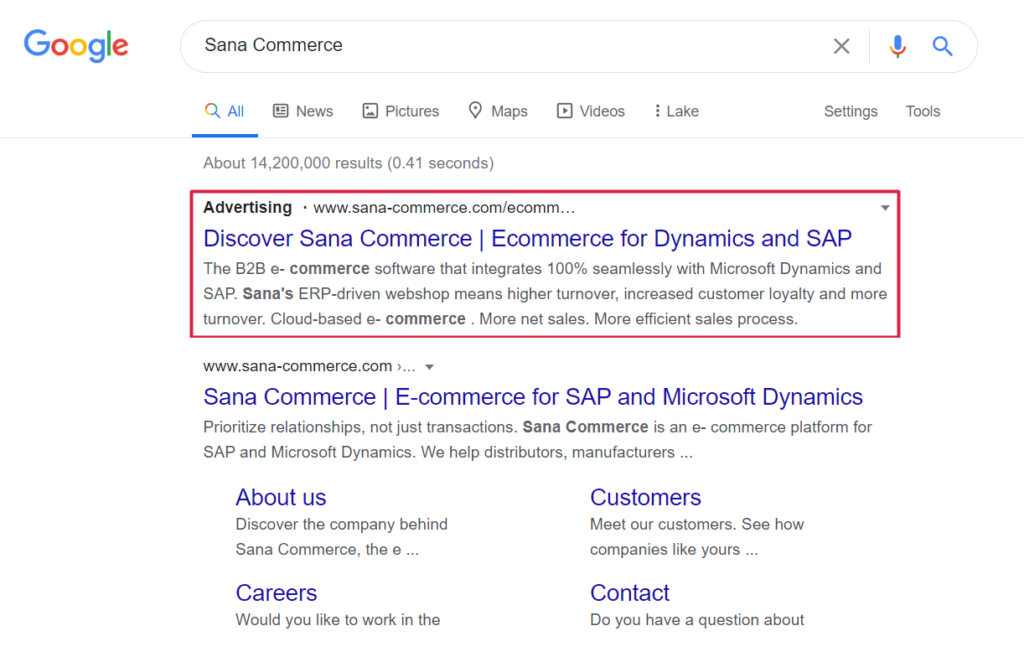Google search result page for Sana Commerce keyword highlighting SEA result