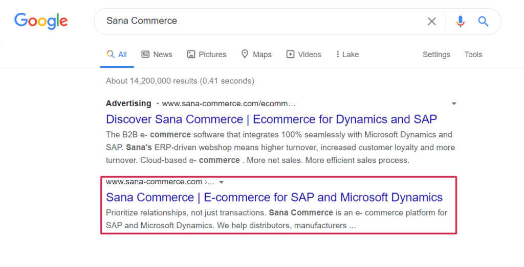 Google search result page for Sana Commerce keyword highlighting organic SEO result