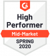 G2Crowd High Performer Mid-Market Spring 2020