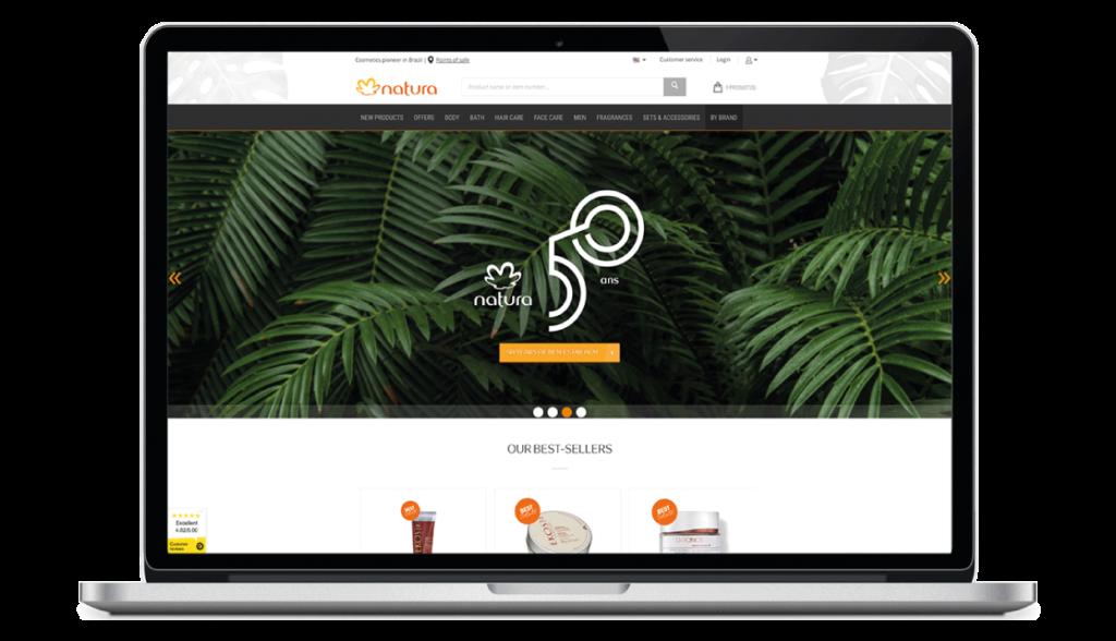 Screenshot of Natura Brasil's e-commerce website design