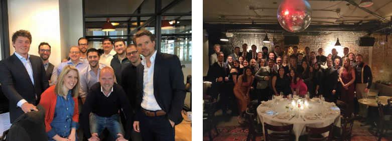 Comparing the 2016 team meetup crammed into the 2-person New York office alongside the 40-people team meetup in 2019, showing the growth of Sana Commerce U.S.