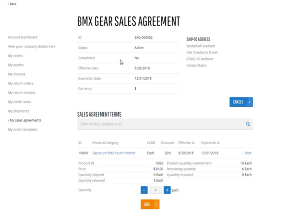 My Sales Agreements line detail view